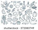 mexico vector set. mexican food ... | Shutterstock .eps vector #372083749
