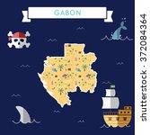 gabon treasure map in flat... | Shutterstock .eps vector #372084364