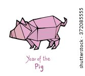 pig origami  chinese zodiac.... | Shutterstock .eps vector #372085555