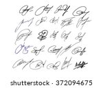 collection of vector signatures ... | Shutterstock .eps vector #372094675