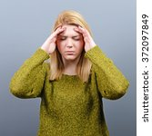 portrait of woman with headache ... | Shutterstock . vector #372097849
