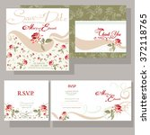 set of wedding cards with red... | Shutterstock .eps vector #372118765