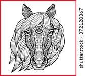 horse's head in style zentangle ... | Shutterstock .eps vector #372120367