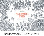 vietnamese food. linear graphic.... | Shutterstock .eps vector #372122911