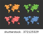 polygonal triangle world map set | Shutterstock .eps vector #372125329