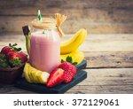 fresh strawberry and banana... | Shutterstock . vector #372129061