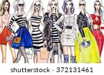 illustration fashionable girls. ... | Shutterstock . vector #372131461