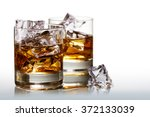 two glasses of scotch whiskey... | Shutterstock . vector #372133039