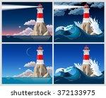 lighthouse on the rock | Shutterstock .eps vector #372133975