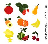fruit icon set | Shutterstock .eps vector #372152101
