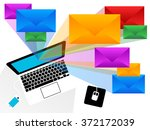 colorful emails bursting from a ... | Shutterstock .eps vector #372172039
