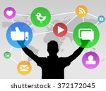 social media design with icons... | Shutterstock .eps vector #372172045