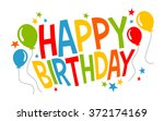 colorful happy birthday text... | Shutterstock .eps vector #372174169