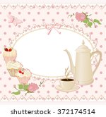 background with teapot  cup and ... | Shutterstock .eps vector #372174514