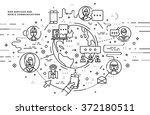 flat style  thin line art... | Shutterstock .eps vector #372180511