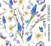 spring vintage seamless pattern ... | Shutterstock . vector #372182821