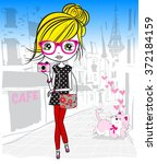 cute girl in the paris | Shutterstock .eps vector #372184159
