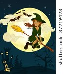 Whitch on the broom - stock vector