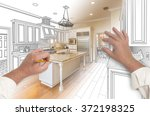 male hands sketching with... | Shutterstock . vector #372198325