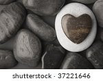 Heart Shaped Pebble Framed On ...