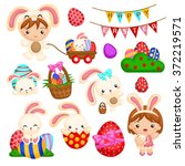 kids and the easter bunny   Shutterstock .eps vector #372219571