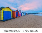 long row of colorful bathing... | Shutterstock . vector #372243865