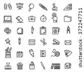 office stationery icons vector | Shutterstock .eps vector #372247711