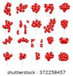 Big Set Of Red Balloons  Vecto...