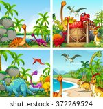 four scenes of dinosaurs in the ...   Shutterstock .eps vector #372269524