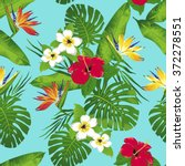 tropical flowers and leaves on... | Shutterstock .eps vector #372278551