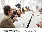 meeting discussion talking... | Shutterstock . vector #372283891