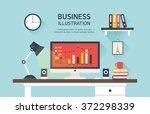 vector business flat... | Shutterstock .eps vector #372298339