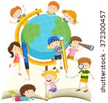 children writing and reading... | Shutterstock .eps vector #372300457