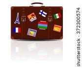 Retro Brown Leather Suitcase...