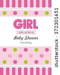 Baby Girl Shower Card. Vector...