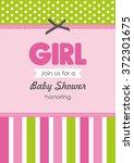 baby girl shower card. vector... | Shutterstock .eps vector #372301675