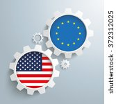 white gears with us and eu... | Shutterstock .eps vector #372312025