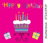 birthday cake with candles. can ... | Shutterstock .eps vector #372315919
