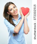 girl hold red heart. isolated... | Shutterstock . vector #372332515