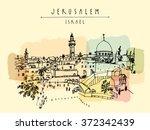 jerusalem  israel. city skyline.... | Shutterstock .eps vector #372342439