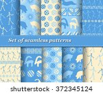 set of vector tribal striped... | Shutterstock .eps vector #372345124