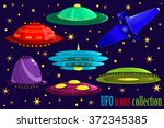flying saucer  spaceship and... | Shutterstock .eps vector #372345385