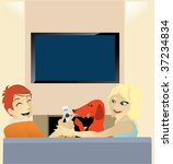 a couple watching tv while... | Shutterstock .eps vector #37234834