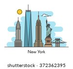new york city skyline... | Shutterstock .eps vector #372362395