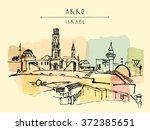 akko  israel skyline with... | Shutterstock .eps vector #372385651