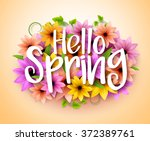 hello spring poster design in... | Shutterstock .eps vector #372389761