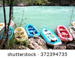 many rafting boats on the fast... | Shutterstock . vector #372394735