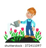 cheerful boy watering  tulips | Shutterstock . vector #372411097