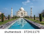 taj mahal   the reflection with ... | Shutterstock . vector #372411175