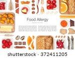 various allergy food on white... | Shutterstock . vector #372411205